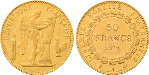 1878-A France 50 Francs Republic AU