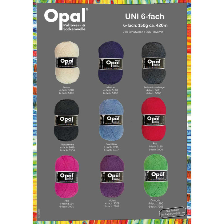 "Opal ""Uni"" Solid 6ply Sock Yarn - Full Range"
