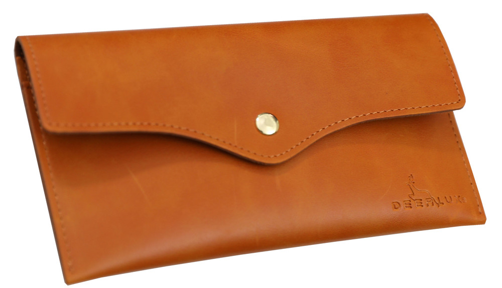 Tan Leather Phone Clutch-Large Leather Wallet