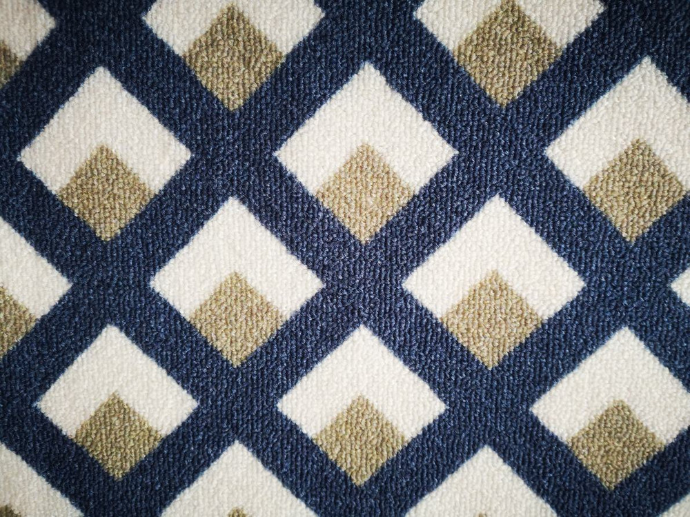 Deerlux Modern Living Room Area Rug with Nonslip Backing, Geometric Gray and Blue Trellis Pattern