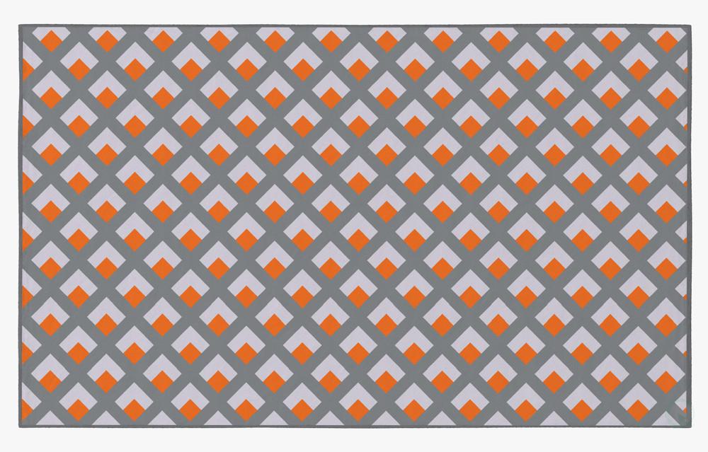 Deerlux Modern Living Room Area Rug with Nonslip Backing, Geometric Gray and Orange Trellis Pattern