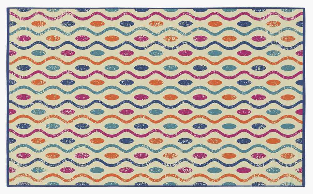 Deerlux Modern Kids Living Room Area Rug with Nonslip Backing, Multicolor Dotty Waves Pattern