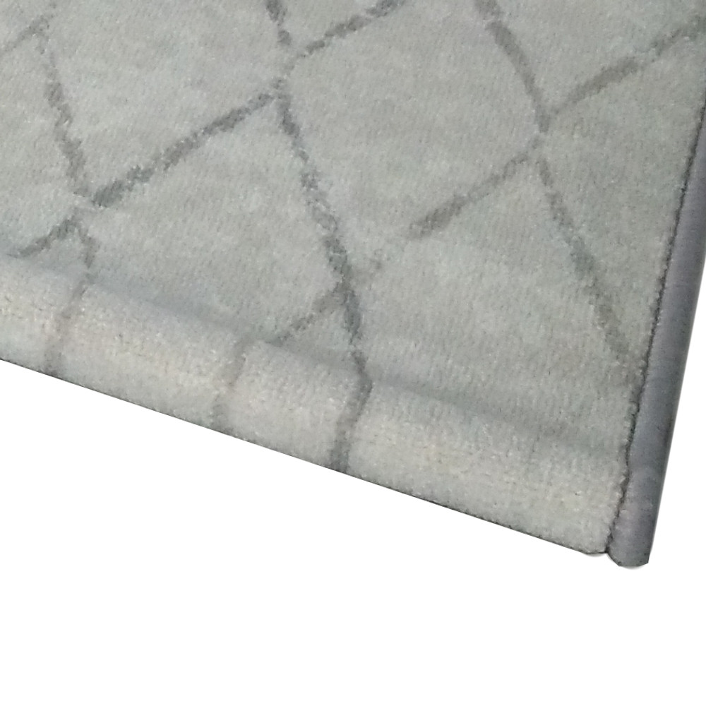 Deerlux Modern Living Room Area Rug with Nonslip Backing, Geometric Gray Wavies Pattern