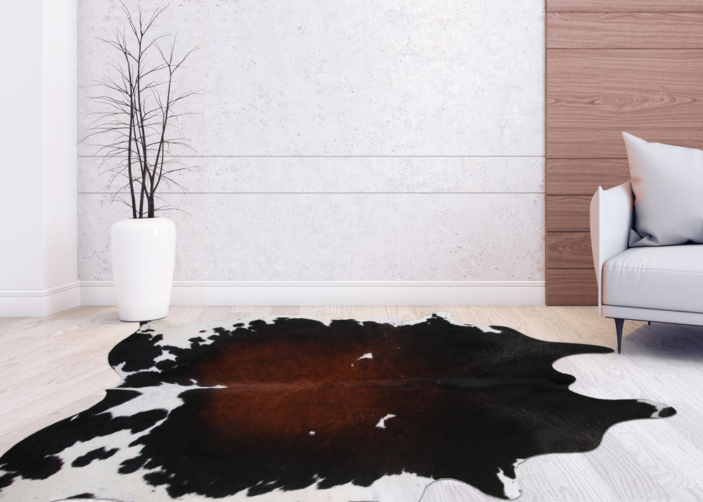 Extra Large 5 x 7 Ft. Brazilian Genuine Natural Leather High Quality Real Hair on Cowhide Rug, Tricolor Black Brown and White