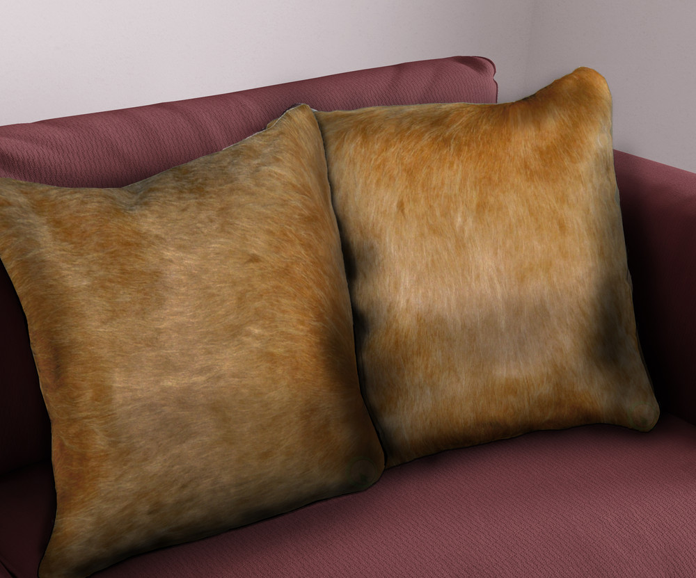 16 in. Brazilian Genuine Natural Leather High Quality Double Sided Cowhide Throw Pillow, Beige