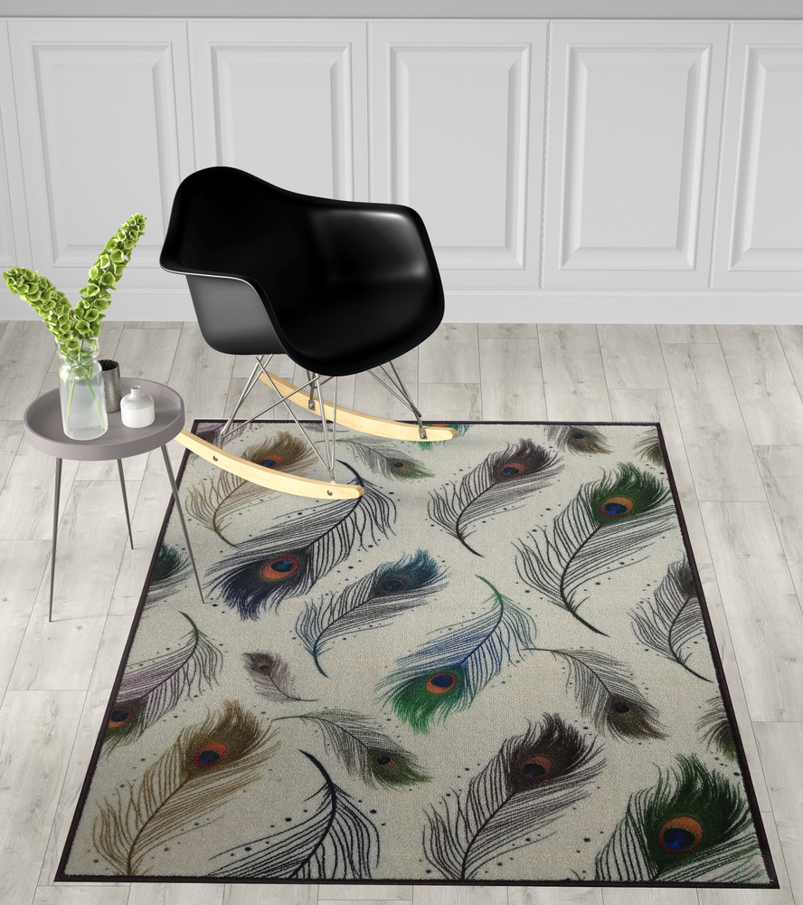 Deerlux Modern Animal Print Living Room Area Rug with Nonslip Backing, Peacock Pattern