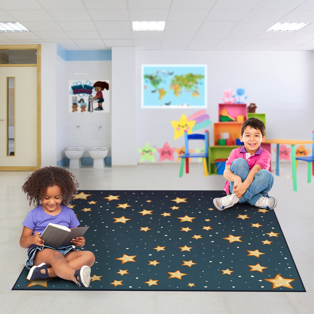 Deerlux 6 ft. Social Distancing Colorful Kids Classroom Seating Area Rug, Starry Sky Design