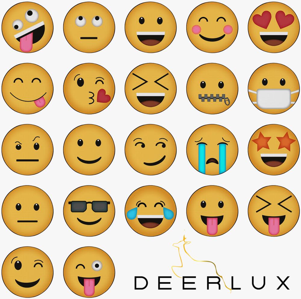 Deerlux Emoji Style Round Funny Smiley Face Kids Area Rug, Heart Eyes Emoji Rug
