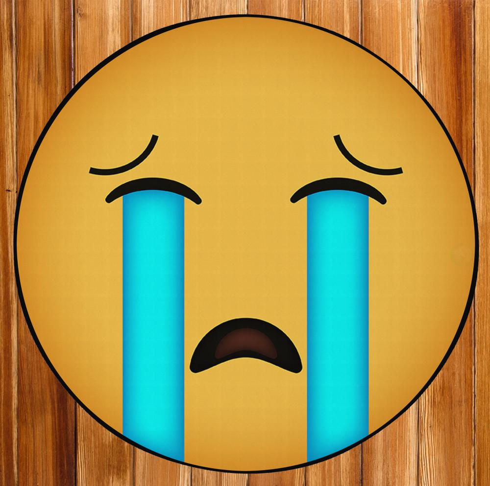 Deerlux Emoji Style Round Funny Smiley Face Kids Area Rug, Sobbing Emoji Rug