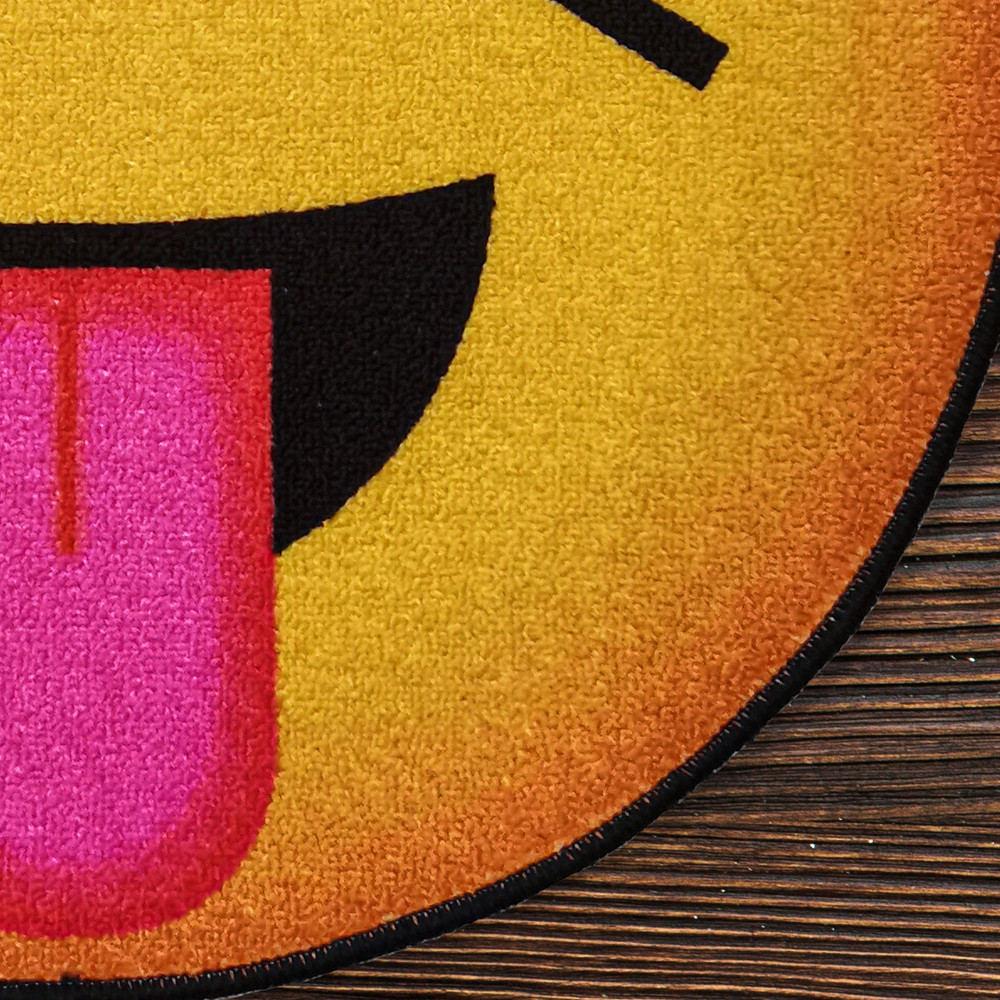 Deerlux Emoji Style Round Funny Smiley Face Kids Area Rug, Tongue Out Emoji Rug