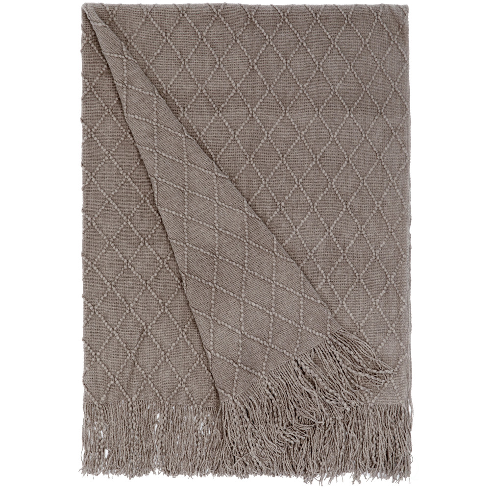 Decorative Diamond Pattern Knit Throw Blanket with Fringe