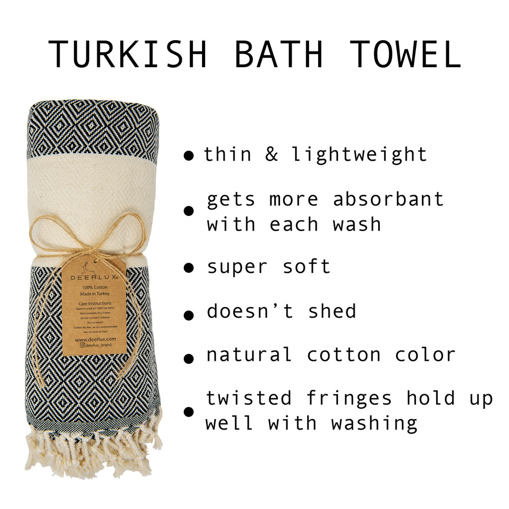 "Deerlux 100% Cotton Turkish Bath Towel, 40"" x 70"" Diamond Peshtemal"