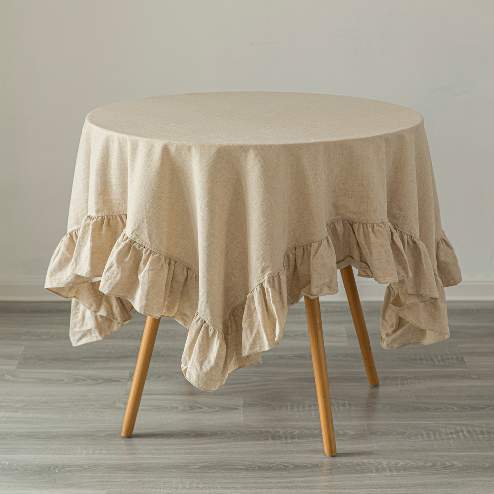 Deerlux 100% Pure Linen Washable Tablecloth with Ruffle Trim