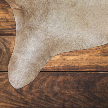 Extra Large 5 x 7 Ft. Brazilian Genuine Natural Leather High Quality Real Hair on Cowhide Rug, Beige
