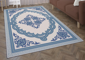 Deerlux Transitional Living Room Area Rug with Nonslip Backing, Blue Medallion Pattern