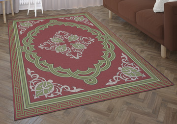 Deerlux Transitional Living Room Area Rug with Nonslip Backing, Red Medallion Pattern