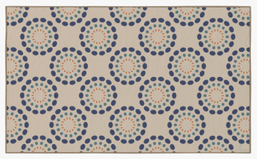 Deerlux Modern Living Room Area Rug with Nonslip Backing, Multicolor Circle Spring Burst Pattern