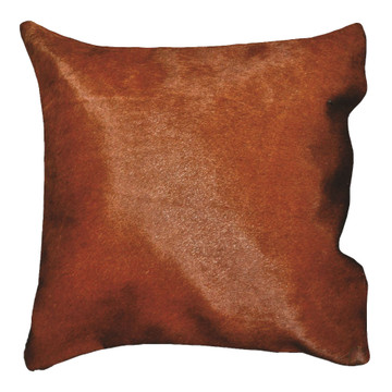 16 in. Brazilian Genuine Natural Leather High Quality Real Hair On Double Sided Cowhide Throw Pillow, Brown
