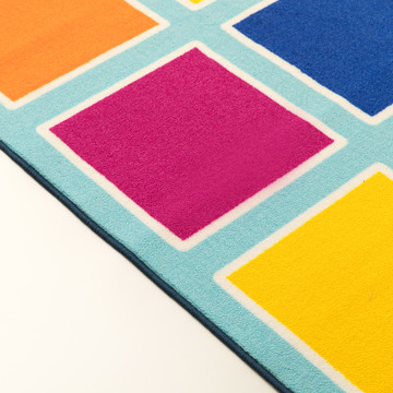 Deerlux Colorful Kids Classroom Seating Area Rug, Multicolor Blocks, 8 x 10 ft Large