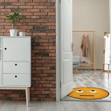 Deerlux Emoji Style Round Funny Smiley Face Kids Area Rug, Eye Roll Emoji Rug
