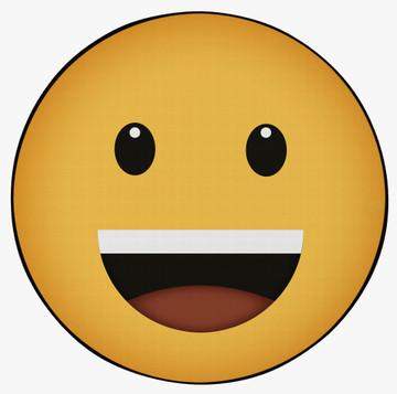 Deerlux Emoji Style Round Funny Smiley Face Kids Area Rug, Grinning Emoji Rug