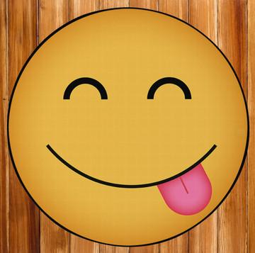 Deerlux Emoji Style Round Funny Smiley Face Kids Area Rug, Hungry Emoji Rug
