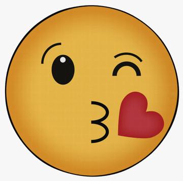 Deerlux Emoji Style Round Funny Smiley Face Kids Area Rug, Kissing Emoji Rug