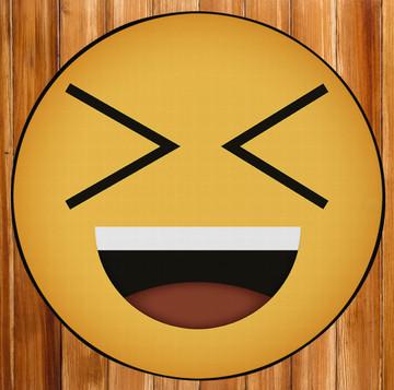 Deerlux Emoji Style Round Funny Smiley Face Kids Area Rug, Laughing Emoji Rug
