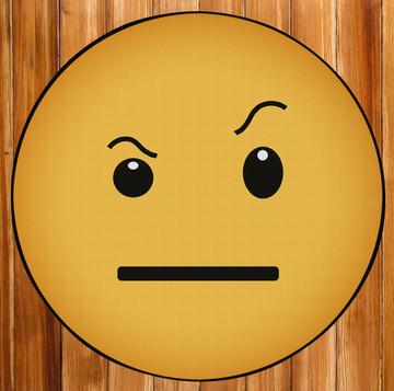 Deerlux Emoji Style Round Funny Smiley Face Kids Area Rug, Raised Eyebrow Emoji Rug