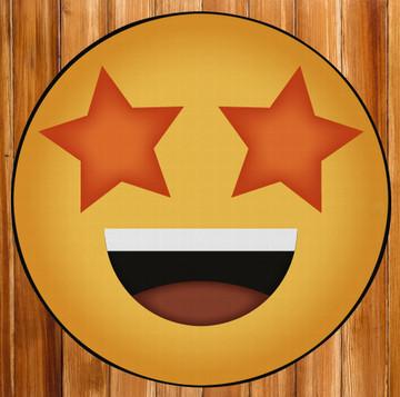 Deerlux Emoji Style Round Funny Smiley Face Kids Area Rug, Star Eyes Emoji Rug
