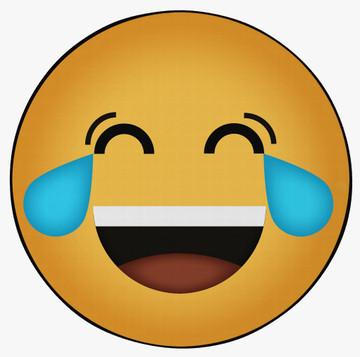 Deerlux Emoji Style Round Funny Smiley Face Kids Area Rug, Tears of Joy Emoji Rug