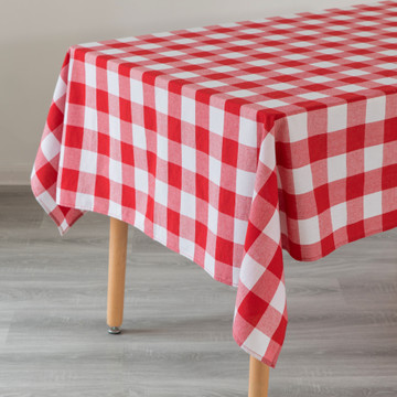 "Red and White Waterproof Plaid Checkered Gingham Outdoor Picnic Tablecloth, 55"" x 78"" Rectangle"
