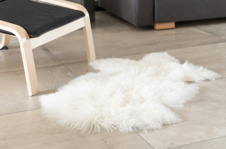 Genuine Mongolian Lamb Fur Sheepskin Rug Natural Single Pelt