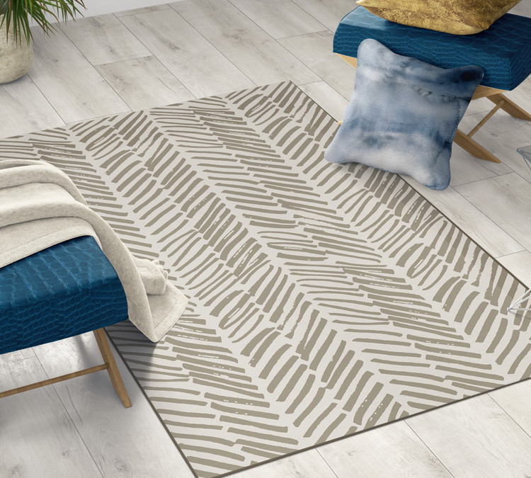 Deerlux Modern Living Room Area Rug with Nonslip Backing, Abstract Beige Chevron Strokes Pattern