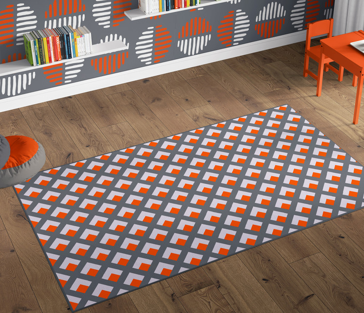 Deerlux Modern Living Room Area Rug with Nonslip Backing, Geometric Gray and Orange Trellis Pattern