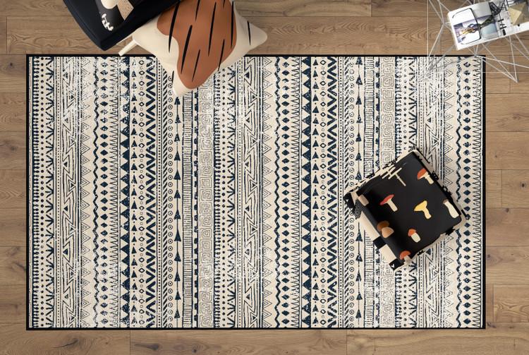 Deerlux Boho Living Room Area Rug with Nonslip Backing, Bohemian Tribal Print Pattern