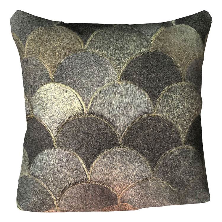 16 in. Brazilian Genuine Natural Leather High Quality Real Hair On Double Sided Cowhide Throw Pillow, Gray Shells Design