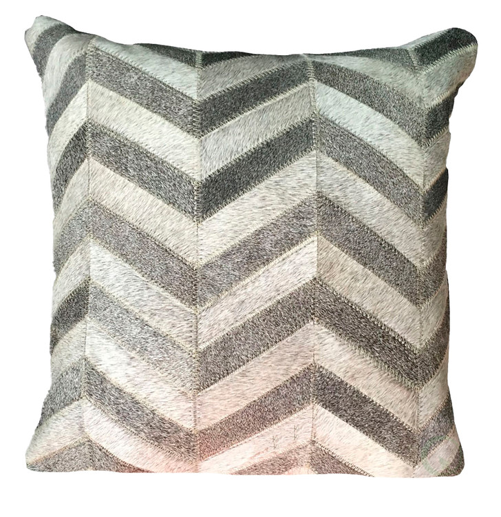 16 in. Brazilian Genuine Natural Leather High Quality Real Hair On Double Sided Cowhide Throw Pillow, Gray Chevron Design