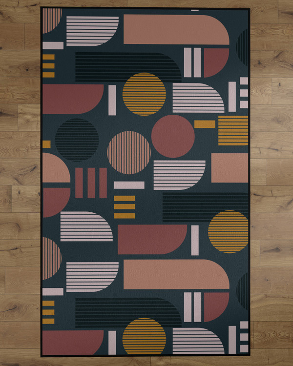 Deerlux Modern Living Room Area Rug with Nonslip Backing, Abstract Geo Pattern