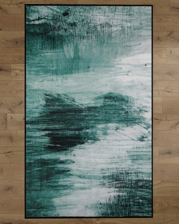Deerlux Modern Living Room Area Rug with Nonslip Backing, Abstract Teal Pattern