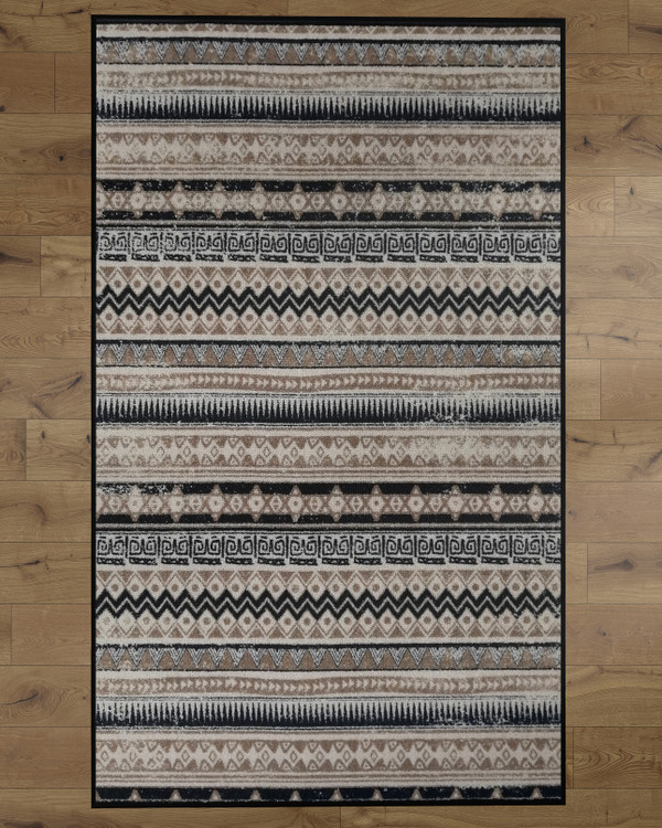Deerlux Bohemian Living Room Area Rug with Nonslip Backing, Beige Boho Pattern