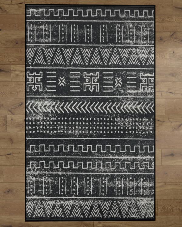 Deerlux Boho Living Room Area Rug with Nonslip Backing, Black Tribal Pattern
