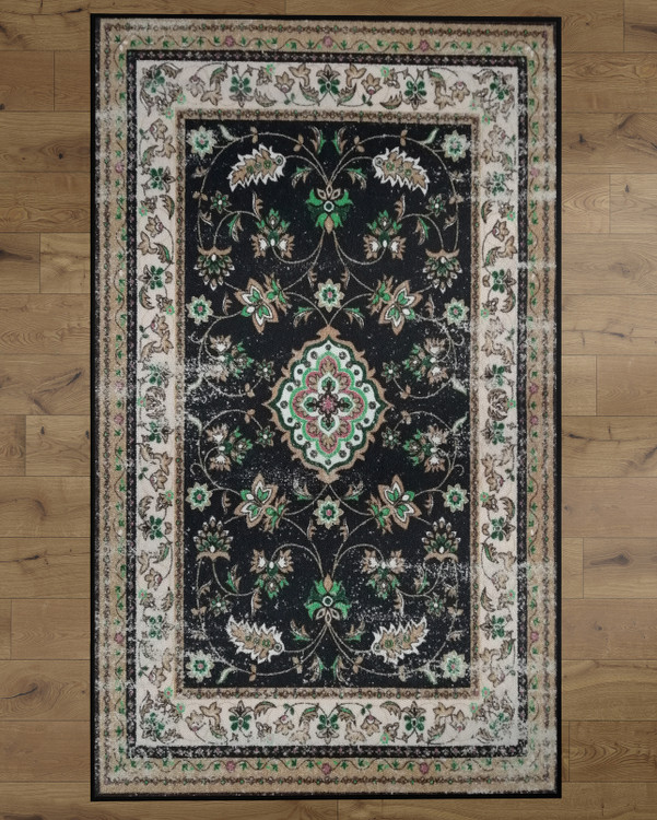 Deerlux Traditional Oriental Persian Style Living Room Area Rug with Nonslip Backing, Classic Cream