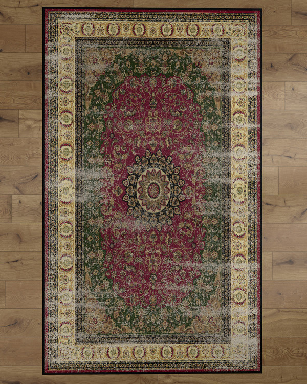 Deerlux Traditional Oriental Persian Style Living Room Area Rug with Nonslip Backing, Classic Pink