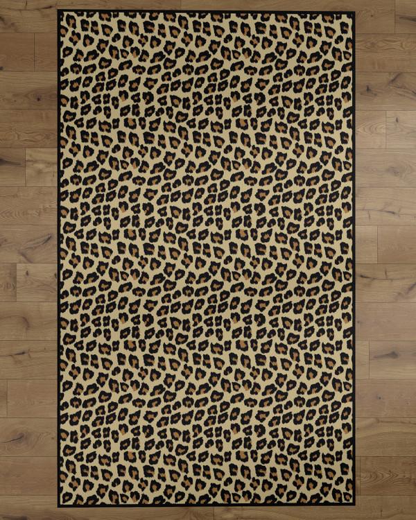 Deerlux Modern Animal Print Living Room Area Rug with Nonslip Backing, Leopard Pattern
