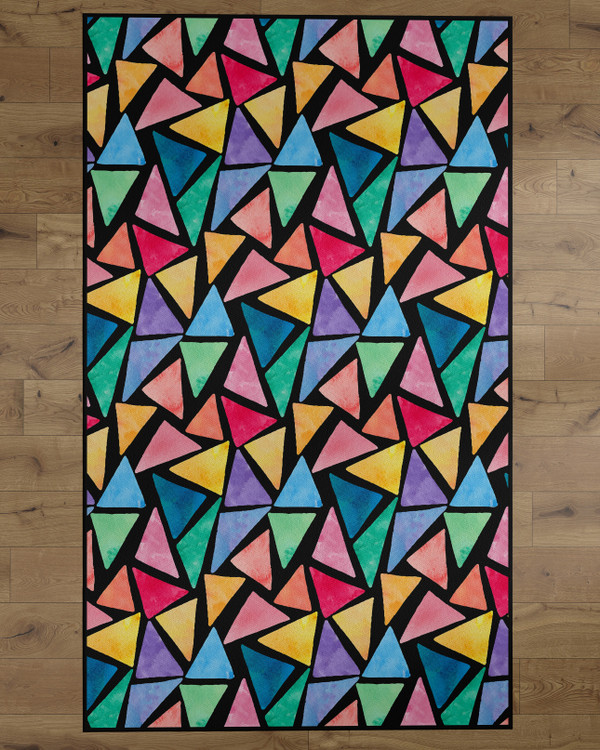 Deerlux Colorful Kids Room Area Rug with Nonslip Backing, Multi Triangle Pattern