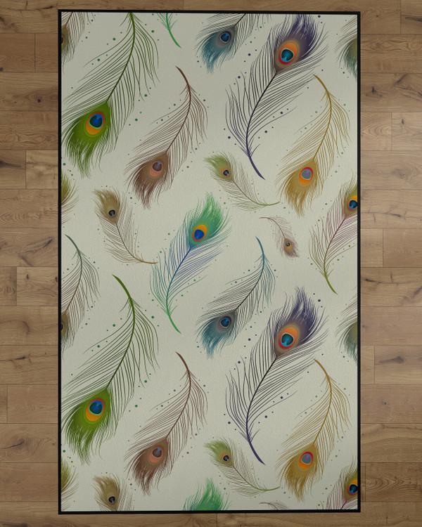 Deerlux Modern Animal Print Living Room Area Rug with Nonslip Backing, Peacock Pattern