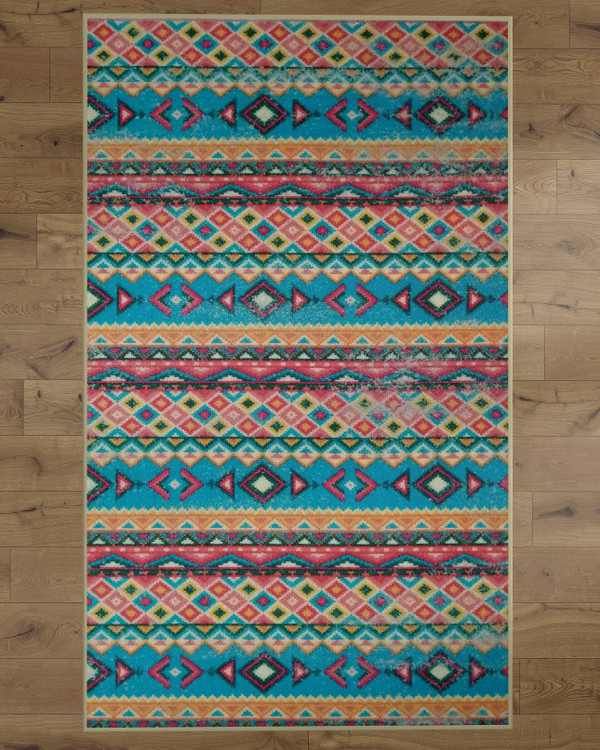 Deerlux Boho Living Room Area Rug with Nonslip Backing, Turquoise Aztec Pattern