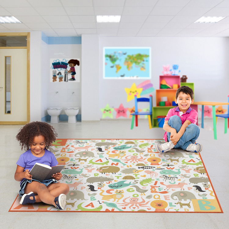 Deerlux 6 ft. Social Distancing Colorful Kids Classroom Seating Area Rug, ABC Animal Design