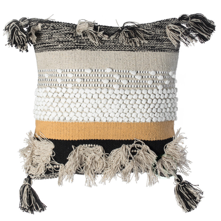 "16"" Boho Handwoven Cotton Throw Pillow Cushion Cover with Tassels, Beige"